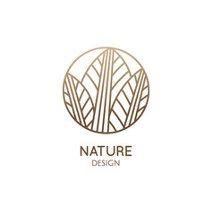 Tropical plant logo round emblem leaf plant in vector