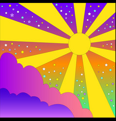 Vintage colorful psychedelic landscape with sun vector
