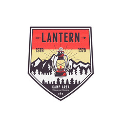 Vintage hand drawn camping logo with lantern vector