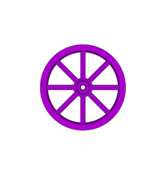 Vintage wooden wheel in purple design vector