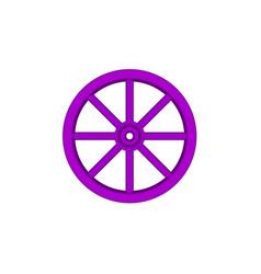 Vintage wooden wheel in purple design vector
