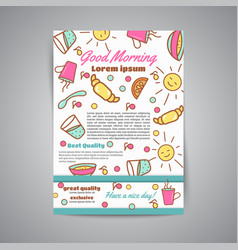 wake up slogan on brochure breakfast menu for vector image