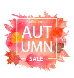 Watercolor autumn foliage sale banner vector