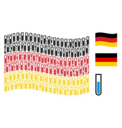 Waving german flag collage of test tube icons vector