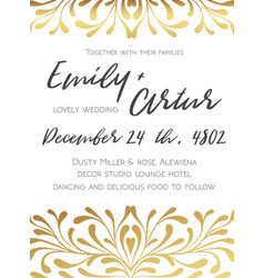 Wedding golden invite save the date card design vector