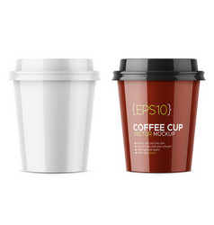 white glossy coffee cup template vector image