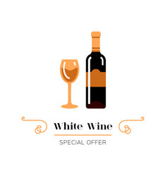White wine and glass wine icon white wine vector