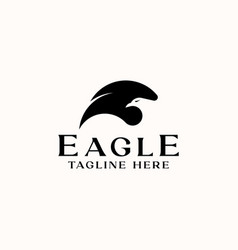 wing eagle head negative space logo template vector image