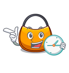 With clock beautifully hobo bag on character funny vector