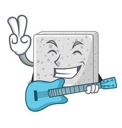 With guitar feta cheese block on plate cartoon vector