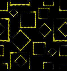 yellow diamonds and squares on a black background vector image