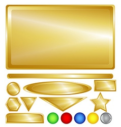 Gold web buttons and bars vector image vector image