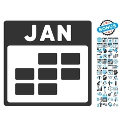 January Calendar Page Flat Icon With Bonus vector image vector image