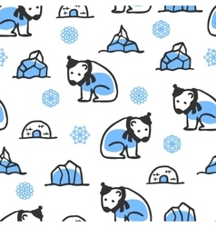 Seamless pattern with cute doodle polar bear vector image