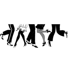 Silhouette of the Charleston dancers legs vector image vector image