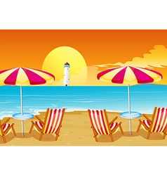 Two umbrellas and four chairs at the beach vector image