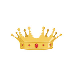 golden ancient crown with red precious stones for vector image vector image