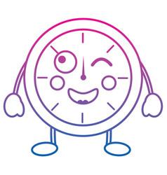 kawaii round clock time cartoon character vector image vector image