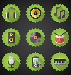 Music Flat Icon Set Include speaker mic vinyl mp3 vector image