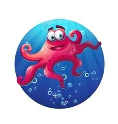 Underwater cartoon comic octopus in ocean vector image