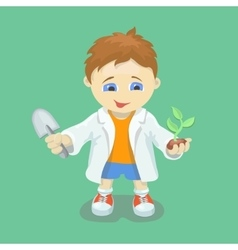 Boy doing biological experiments Young scientist vector image vector image