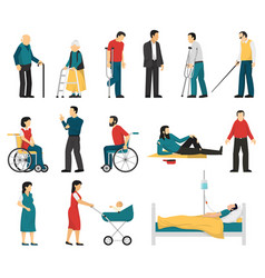disabled people set vector image vector image