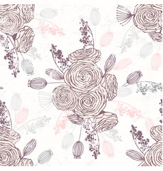 romantic hand drawn seamless pattern with flowers vector image