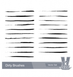 Set of dirty grunge brushes vector