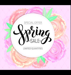 spring sale with background pink peonies vector image