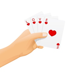 Hand with love cards vector