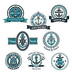 marine and nautical heraldic icons set vector image