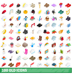 100 old icons set isometric 3d style vector image
