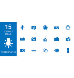 15 photographic icons vector