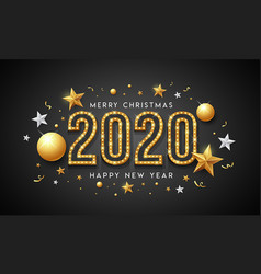 2020 merry christmas and happy new year message vector image
