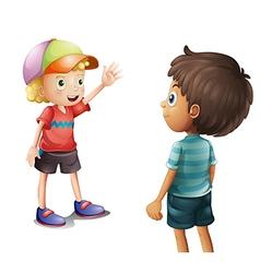 A boy waving at his friend vector