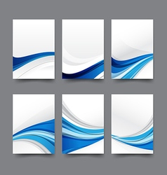 Abstract background collection of curve wave blue vector image