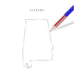 Alabama us state map pencil sketch vector