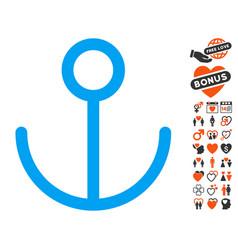 anchor icon with valentine bonus vector image