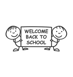 back to school placard in hands icon on white vector image