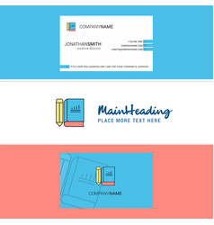 beautiful book and pencil logo and business card vector image