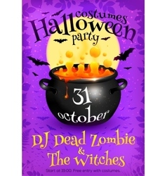 Bright purple Halloween party poster template with vector image