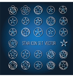Bright star icon set vector