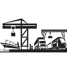 Cargo terminal scene vector