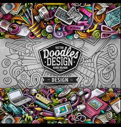 cartoon doodles design horizontal stripe vector image