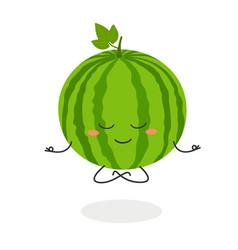 cartoon watermelon meditation vector image
