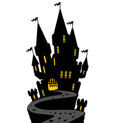 Castle on hill silhouette vector