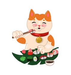 Cat eats sushi and rolls isolated on a white vector
