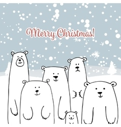 Christmas card with white bears family vector