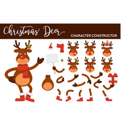 christmas deer cartoon character constructor vector image