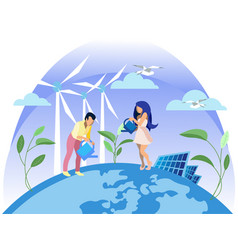 clean electric energy renewable sources ecology vector image